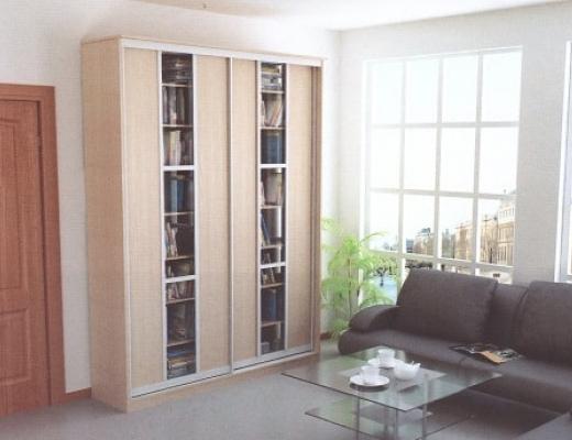 Шкаф купе книжный, ЛДСП+вставка стекло
