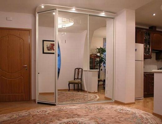 Шкаф купе зеркало с угловым элементом