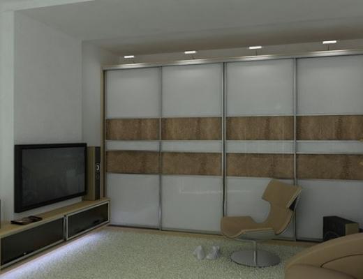 Шкаф купе встроенный (стекло с плёнкой Оracal и кожаные вставки)