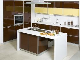 Кухня пластик в алюминиевой рамке + стол Остров