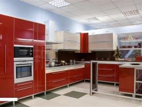 Кухня пластик в алюминиевой рамке (оранжевое бордо)