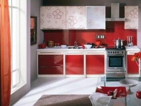 Кухня МДФ глянец с цветочным рисунком