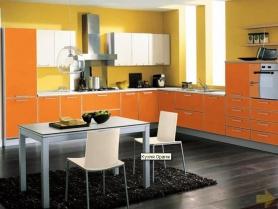 Кухня пластик в алюминиевой рамке (Оранж)