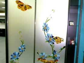Шкаф купе с витражным рисунком на матовом зеркале