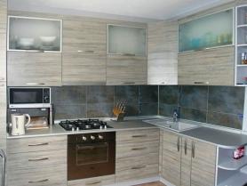 Кухня Милена МДФ со стеклом в алюминиевой рамке
